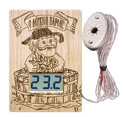 """Термометр электронный ТЭС-Люкс Pt """"С легким паром!"""" (в корпусе из липы) с декоративным датчиком"""