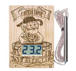"""Термометр электронный ТЭС-Люкс Pt """"С легким паром!"""" (в корпусе из липы) с герметичным датчиком"""