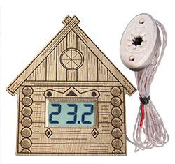 """Термометр электронный ТЭС-Люкс Pt """"Домик"""" (в корпусе из липы) с декоративным датчиком"""