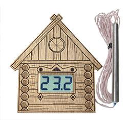 """Термометр электронный ТЭС-Люкс Pt """"Домик"""" (в корпусе из липы) с герметичным датчиком"""