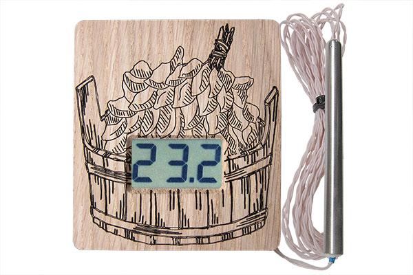 """Термометр электронный ТЭС-Люкс Pt """"Шайка"""" (в корпусе из липы) с герметичным датчиком"""