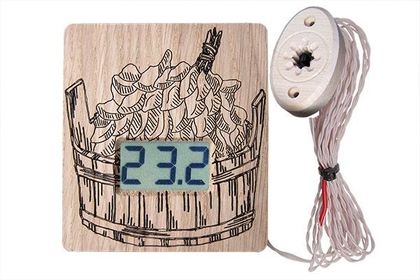 """Термометр электронный ТЭС-Люкс Pt """"Шайка"""" (в корпусе из липы) с декоративным датчиком"""